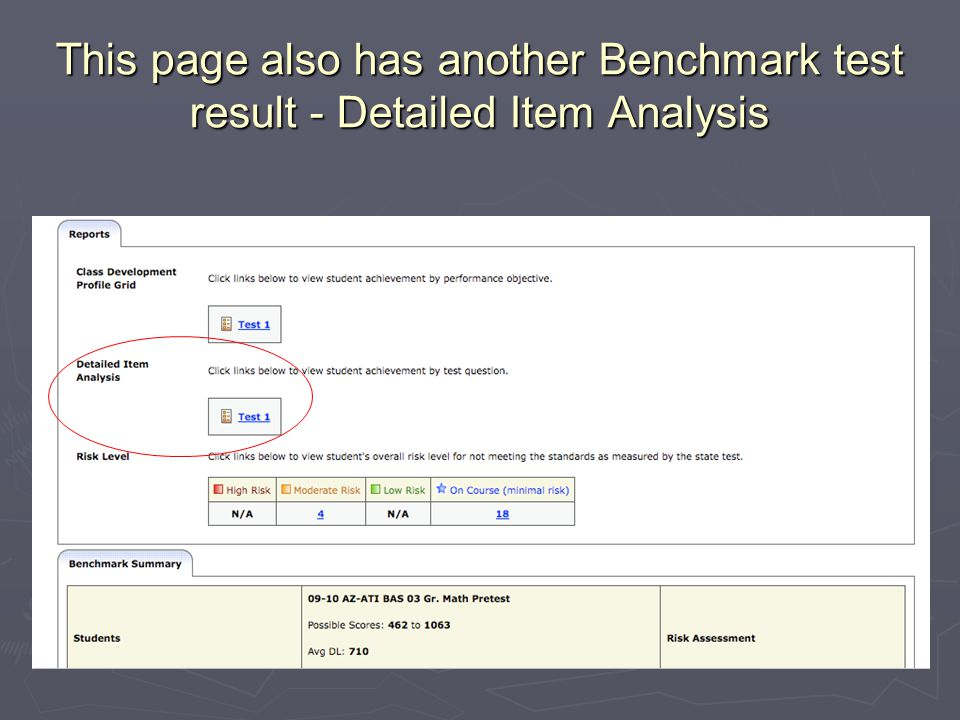 This page also has another Benchmark test result - Detailed Item Analysis