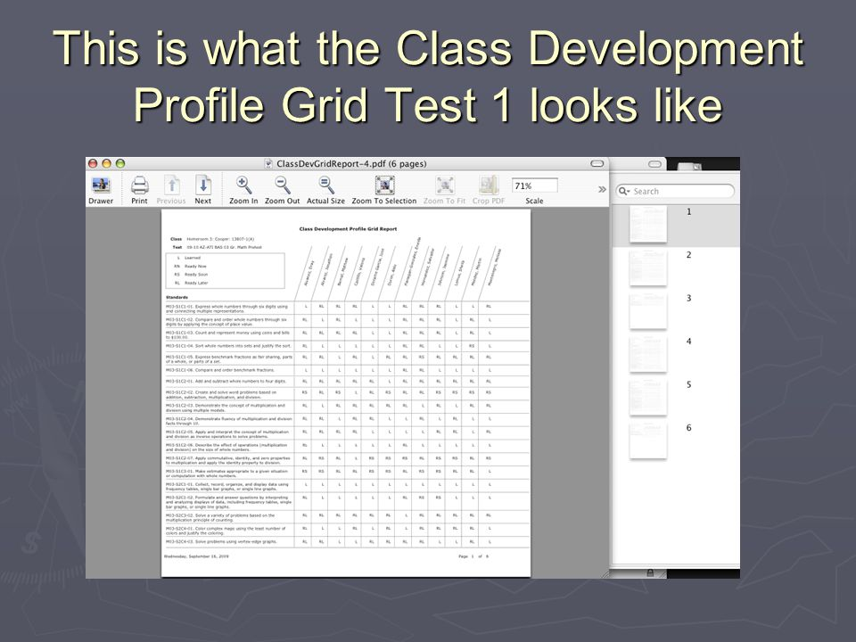 This is what the Class Development Profile Grid Test 1 looks like