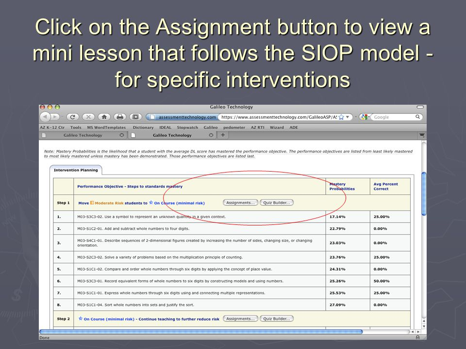 Click on the Assignment button to view a mini lesson that follows the SIOP model - for specific interventions