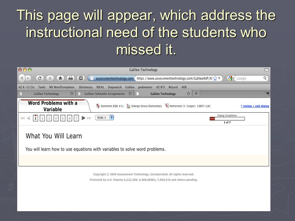 This page will appear, which address the instructional need of the students who missed it.