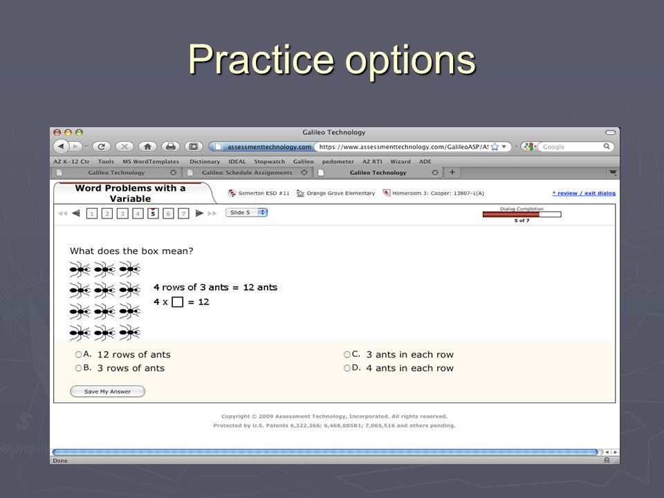 Practice options