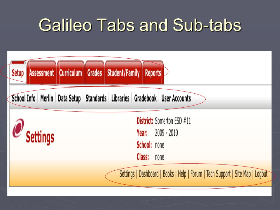 Galileo Tabs and Sub-tabs