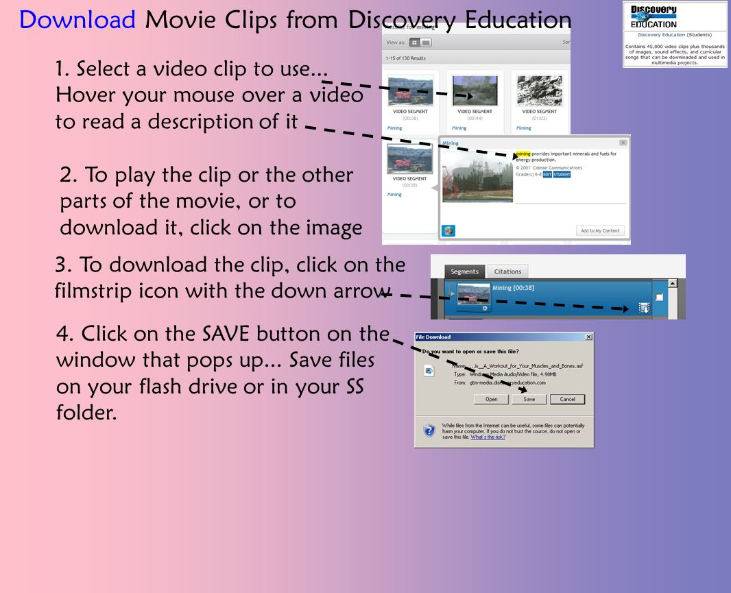 2. To play the clip or the other parts of the movie, or to download it, click on the image 1.