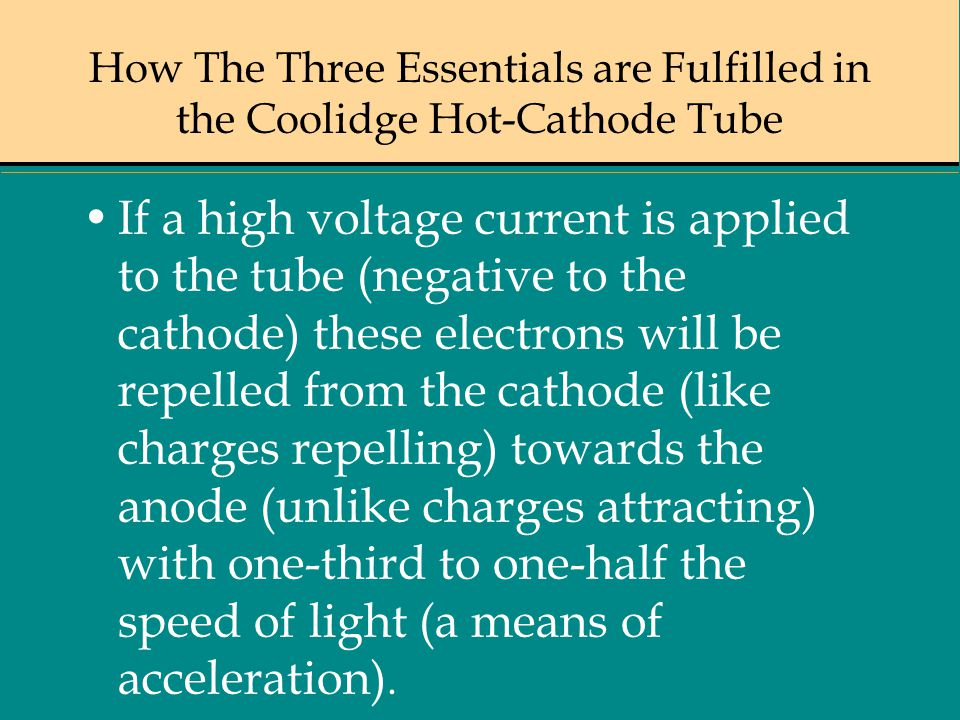 How The Three Essentials are Fulfilled in the Coolidge Hot-Cathode Tube If a high voltage current is applied to the tube (negative to the cathode) the