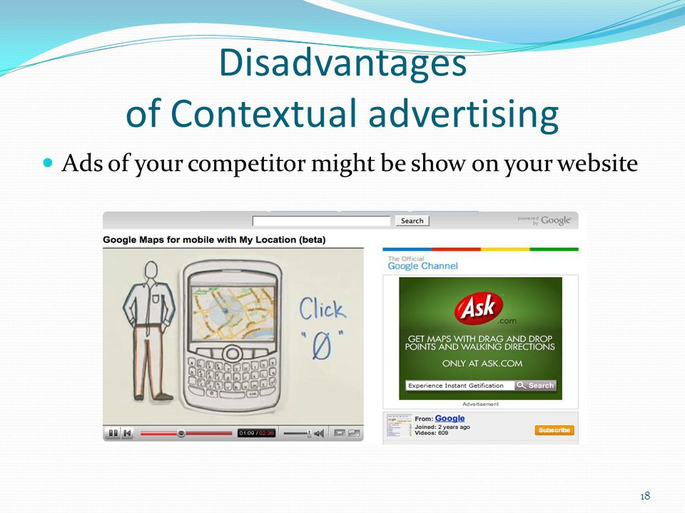 Disadvantages of Contextual advertising Ads of your competitor might be show on your website 18