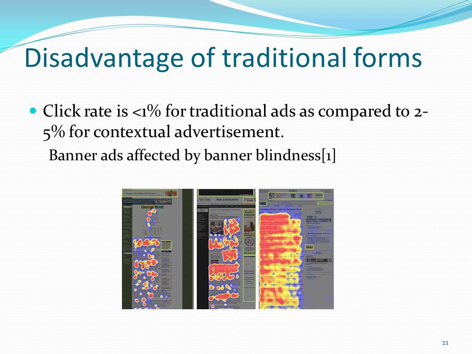 Disadvantage of traditional forms Click rate is <1% for traditional ads as compared to 2- 5% for contextual advertisement.