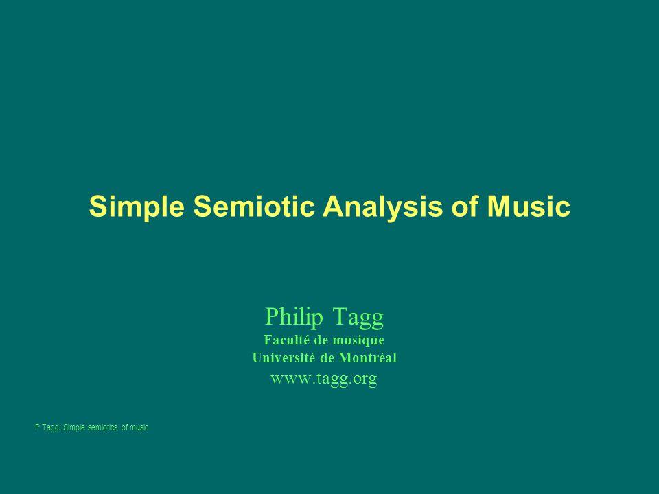 Simple Semiotic Analysis of Music Philip Tagg Faculté de musique Université de Montréal www.tagg.org P Tagg: Simple semiotics of music