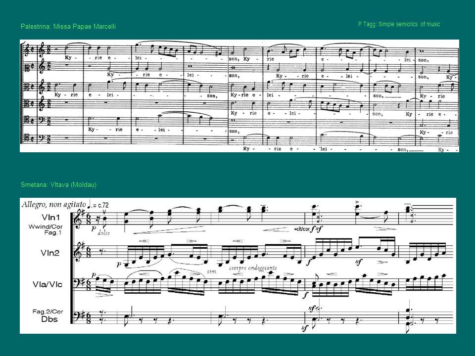 Palestrina: Missa Papae Marcelli Smetana: Vltava (Moldau) P Tagg: Simple semiotics of music