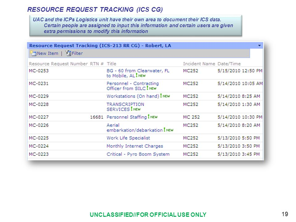 RESOURCE REQUEST TRACKING (ICS CG) UAC and the ICPs Logistics unit have their own area to document their ICS data.