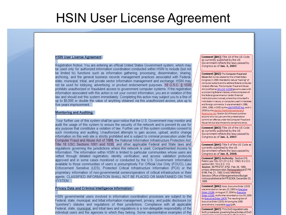 HSIN User License Agreement