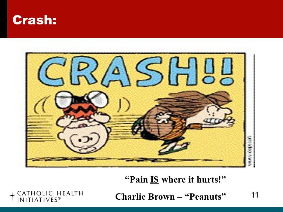 "Crash: 11 ""Pain IS where it hurts!"" Charlie Brown – ""Peanuts"""