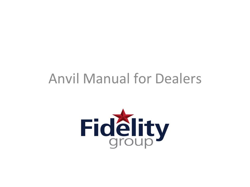 Anvil Manual for Dealers