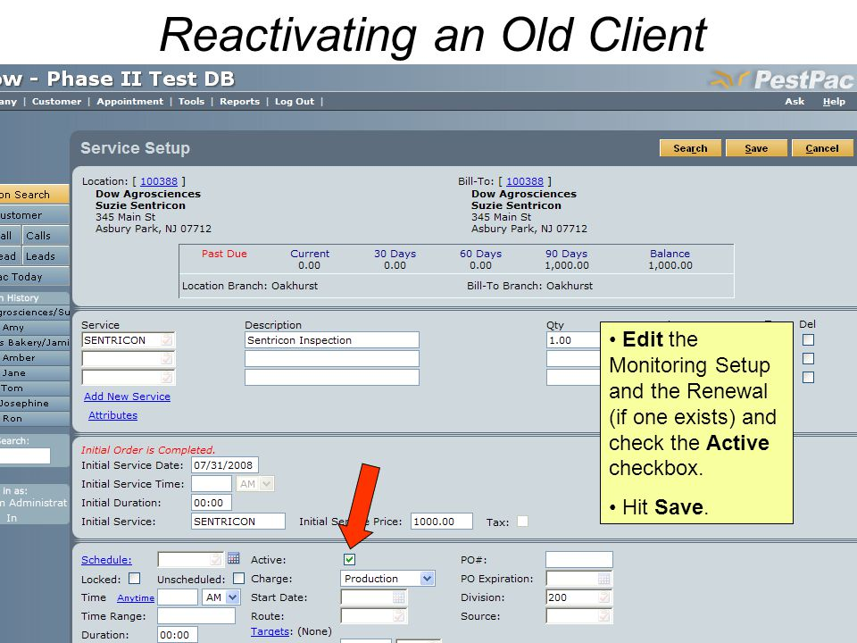 Reactivating an Old Client Edit the Monitoring Setup and the Renewal (if one exists) and check the Active checkbox.