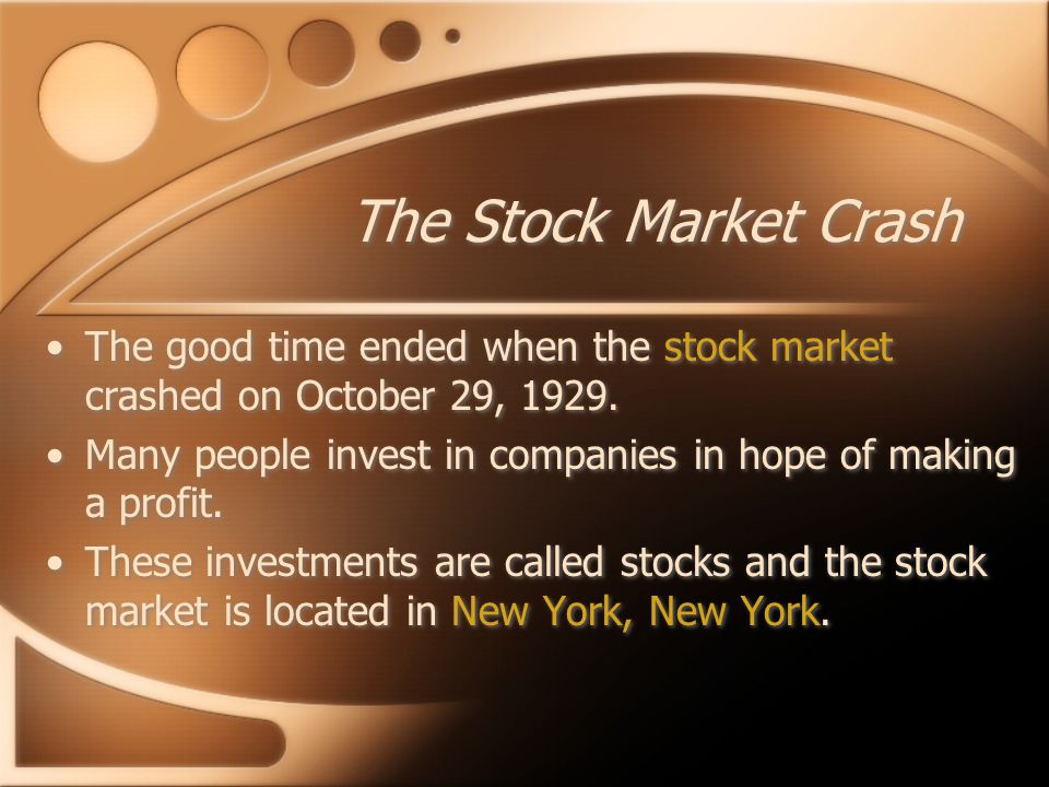 Timeline 1928 - Herbert Hoover was elected President 1929 - Many people lost all of their money when the stock market crashed.
