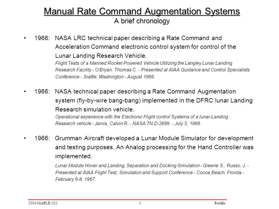 52004 MAPLD/202Portillo 1966: NASA LRC technical paper describing a Rate Command and Acceleration Command electronic control system for control of the