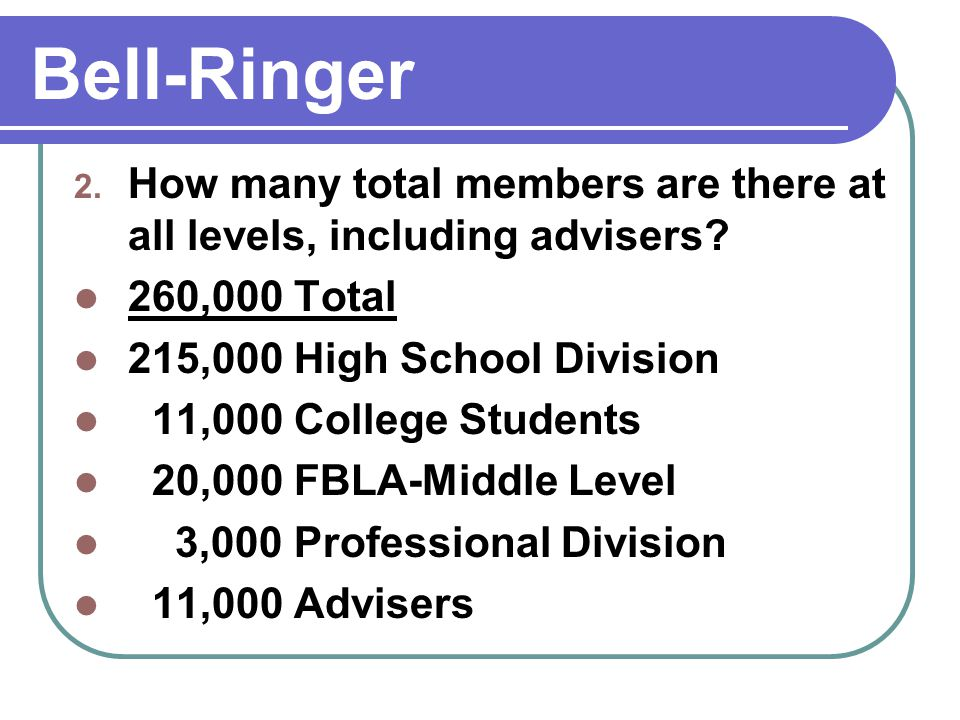 Bell-Ringer 3.Where can top state winners compete for honors each summer.