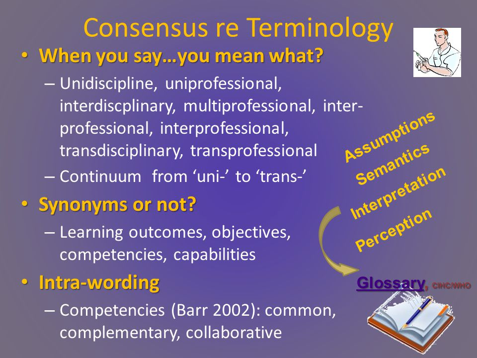 Consensus re Terminology When you say…you mean what.
