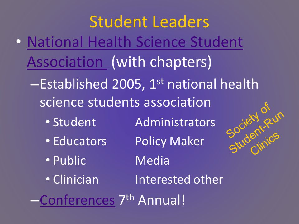 Student Leaders National Health Science Student Association (with chapters) National Health Science Student Association – Established 2005, 1 st national health science students association StudentAdministrators EducatorsPolicy Maker PublicMedia ClinicianInterested other – Conferences 7 th Annual.