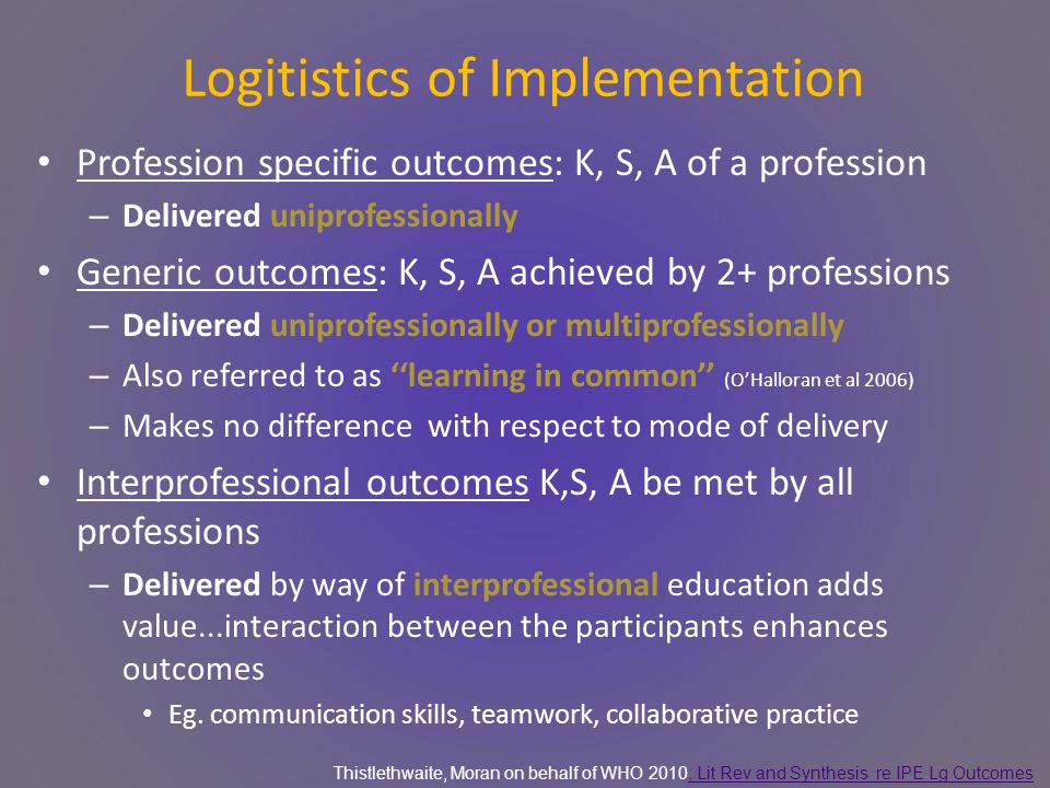 Logitistics of Implementation Profession specific outcomes: K, S, A of a profession – Delivered uniprofessionally Generic outcomes: K, S, A achieved by 2+ professions – Delivered uniprofessionally or multiprofessionally – Also referred to as ''learning in common'' (O'Halloran et al 2006) – Makes no difference with respect to mode of delivery Interprofessional outcomes K,S, A be met by all professions – Delivered by way of interprofessional education adds value...interaction between the participants enhances outcomes Eg.
