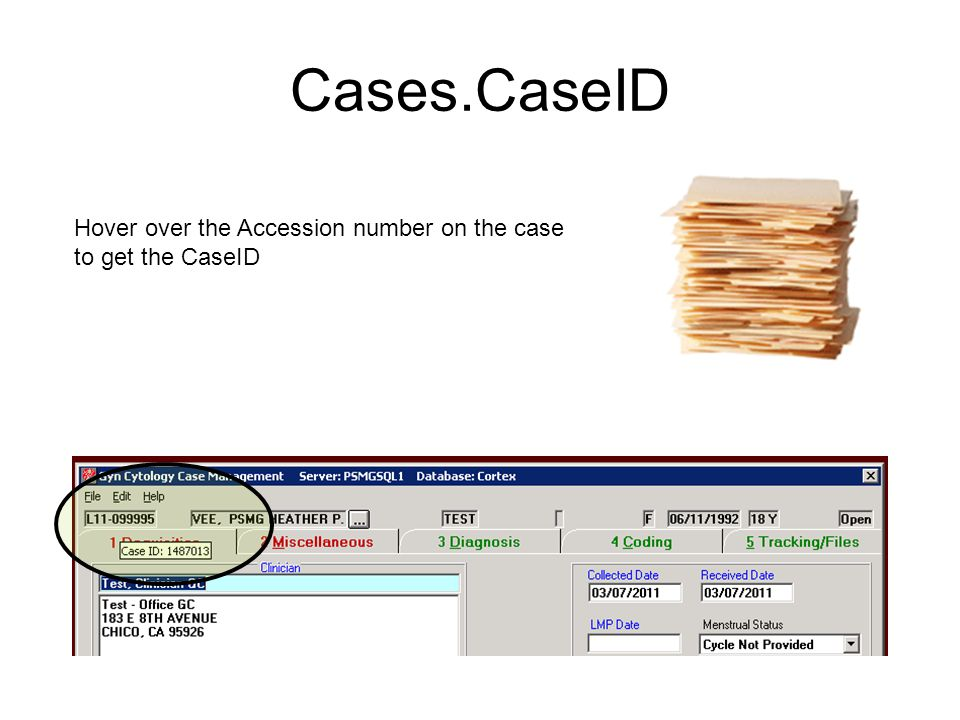 Cases.CaseID Hover over the Accession number on the case to get the CaseID