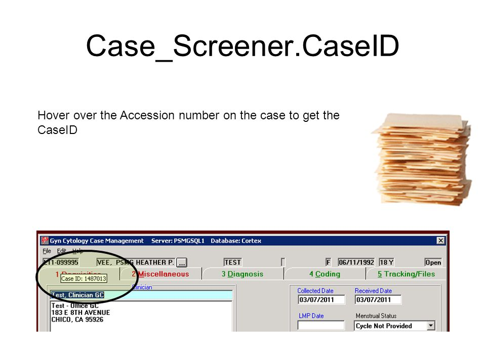 Case_Screener.CaseID Hover over the Accession number on the case to get the CaseID