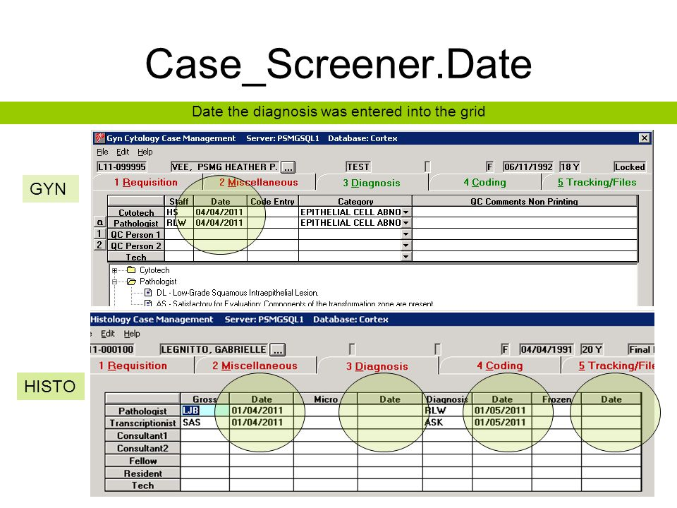 Case_Screener.Date Date the diagnosis was entered into the grid GYN HISTO