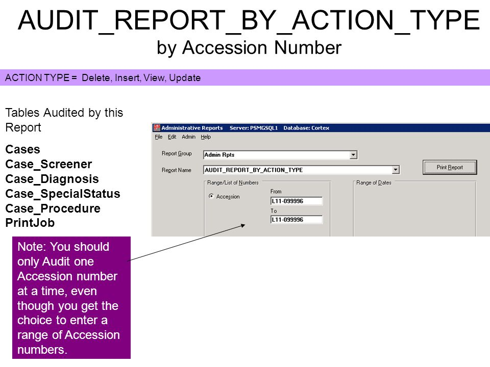 Case_Diagnosis.CaseID Hover over the Accession number on the case to get the CaseID