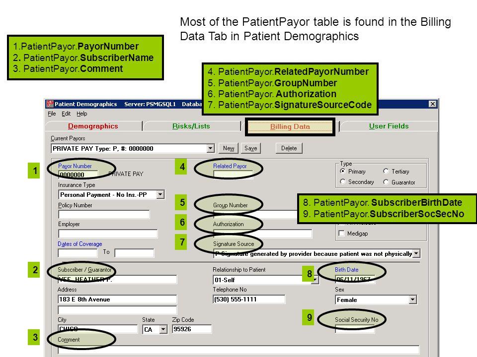 1.PatientPayor.PayorNumber 2. PatientPayor.SubscriberName 3.