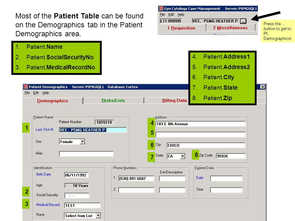 1.Patient.Name 2.Patient.SocialSecurityNo 3.Patient.MedicalRecordNo 4.Patient.Address1 5.Patient.Address2 6.Patient.City 7.Patient.State 8.Patient.Zip 1 3 2 8 7 6 5 4 Most of the Patient Table can be found on the Demographics tab in the Patient Demographics area.