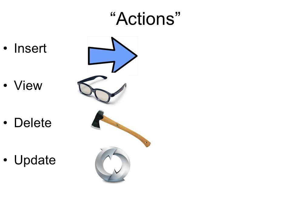 Actions Insert View Delete Update