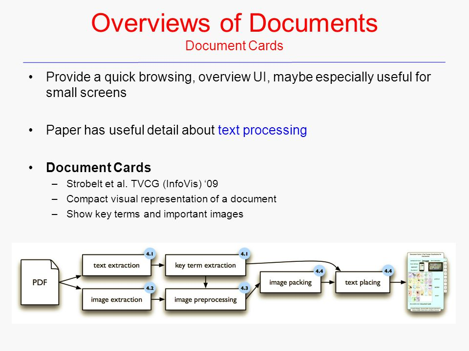 Overviews of Documents Document Cards Provide a quick browsing, overview UI, maybe especially useful for small screens Paper has useful detail about text processing Document Cards –Strobelt et al.