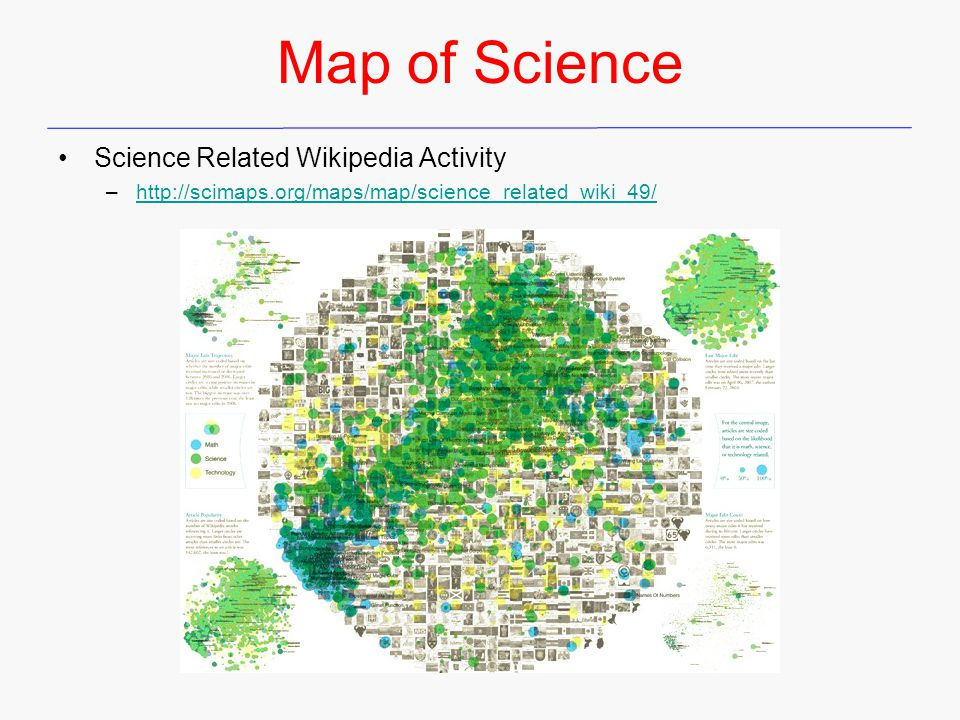 Map of Science Science Related Wikipedia Activity –http://scimaps.org/maps/map/science_related_wiki_49/http://scimaps.org/maps/map/science_related_wiki_49/