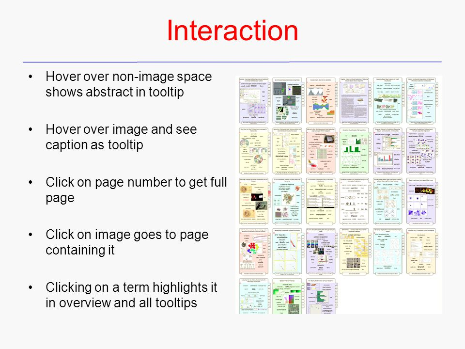 Interaction Hover over non-image space shows abstract in tooltip Hover over image and see caption as tooltip Click on page number to get full page Click on image goes to page containing it Clicking on a term highlights it in overview and all tooltips
