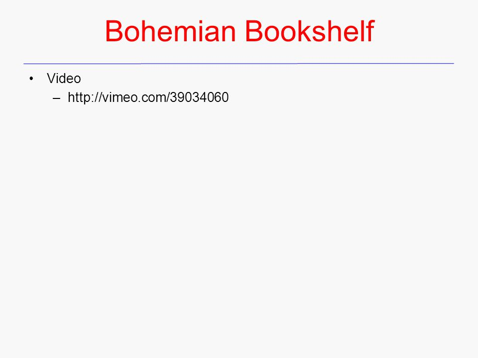 Bohemian Bookshelf Video –http://vimeo.com/39034060