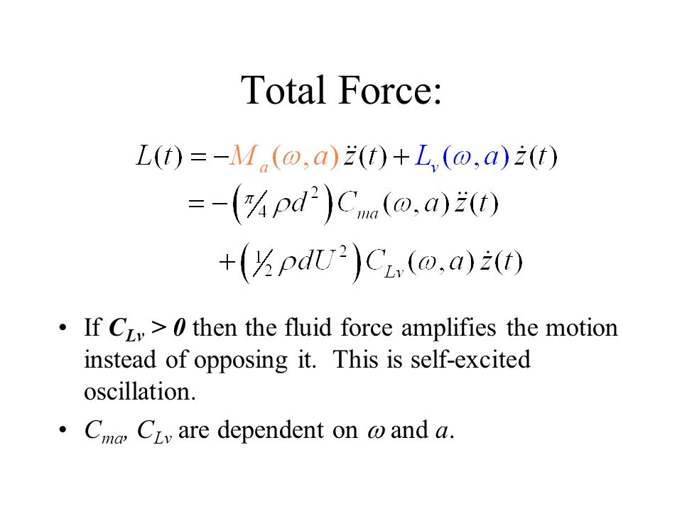 Total Force: If C Lv > 0 then the fluid force amplifies the motion instead of opposing it. This is self-excited oscillation. C ma, C Lv are dependent