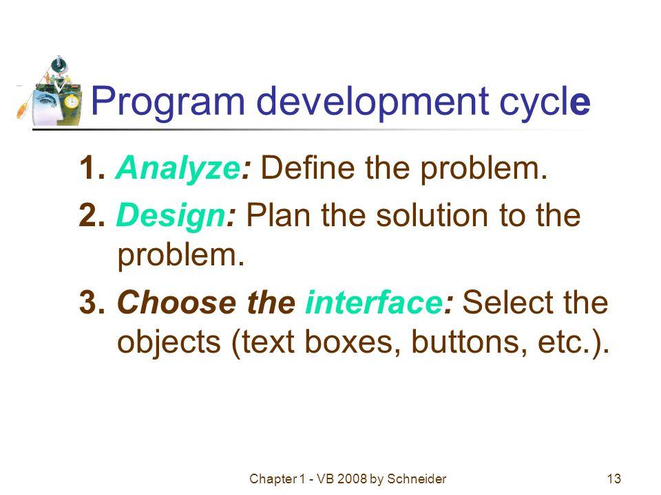 Chapter 1 - VB 2008 by Schneider13 Program development cycle 1.