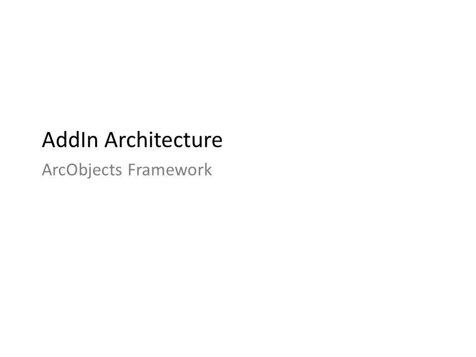 AddIn Architecture ArcObjects Framework