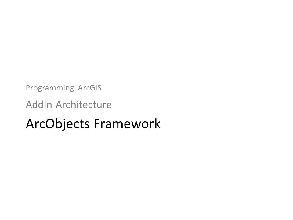 Programming ArcGIS AddIn Architecture ArcObjects Framework