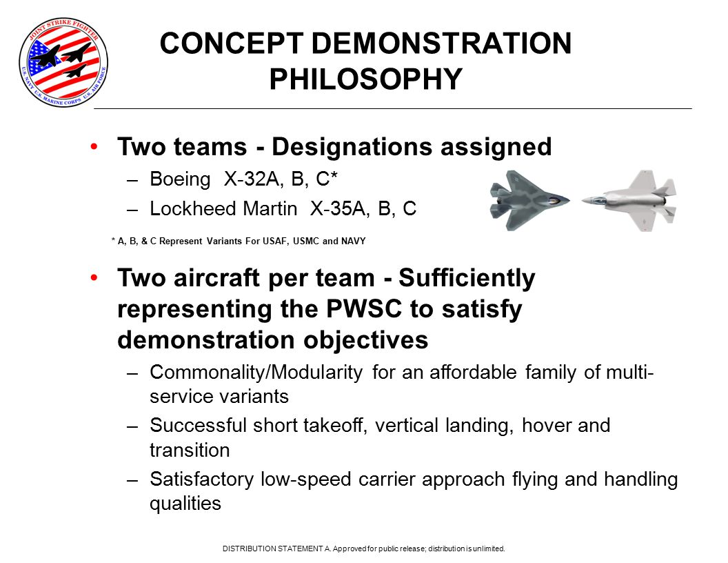 Two teams - Designations assigned –Boeing X-32A, B, C* –Lockheed Martin X-35A, B, C Two aircraft per team - Sufficiently representing the PWSC to satisfy demonstration objectives –Commonality/Modularity for an affordable family of multi- service variants –Successful short takeoff, vertical landing, hover and transition –Satisfactory low-speed carrier approach flying and handling qualities CONCEPT DEMONSTRATION PHILOSOPHY * A, B, & C Represent Variants For USAF, USMC and NAVY DISTRIBUTION STATEMENT A.