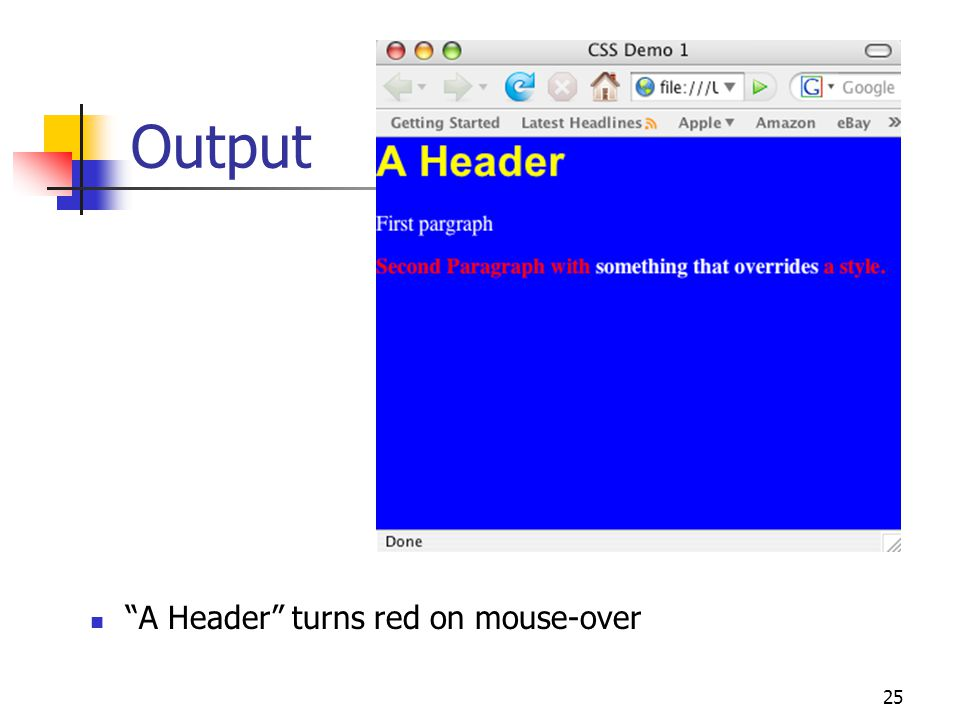 25 Output A Header turns red on mouse-over