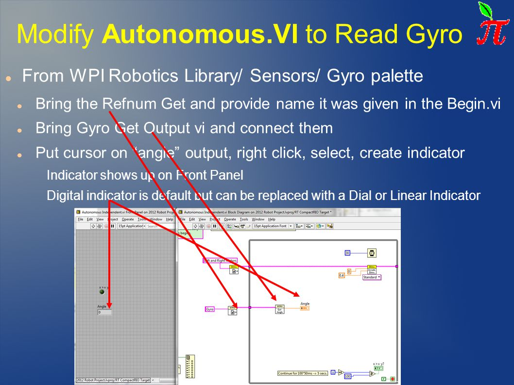 Modifying the Dashboard – Gyro Indicator a)Open Dashboard Project, Modify to display Gyro angle on a gage (follow Labview tutorial number 7) b)Modify Robot code Tele-op to send data to dashboard (also part of Labview tutorial) DashboardMain.vi Front Panel: