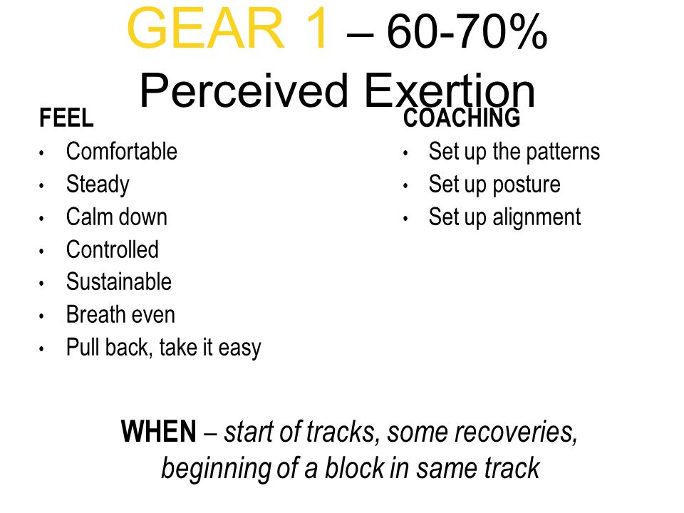 GEAR 1 – 60-70% Perceived Exertion FEEL Comfortable Steady Calm down Controlled Sustainable Breath even Pull back, take it easy COACHING Set up the patterns Set up posture Set up alignment WHEN – start of tracks, some recoveries, beginning of a block in same track