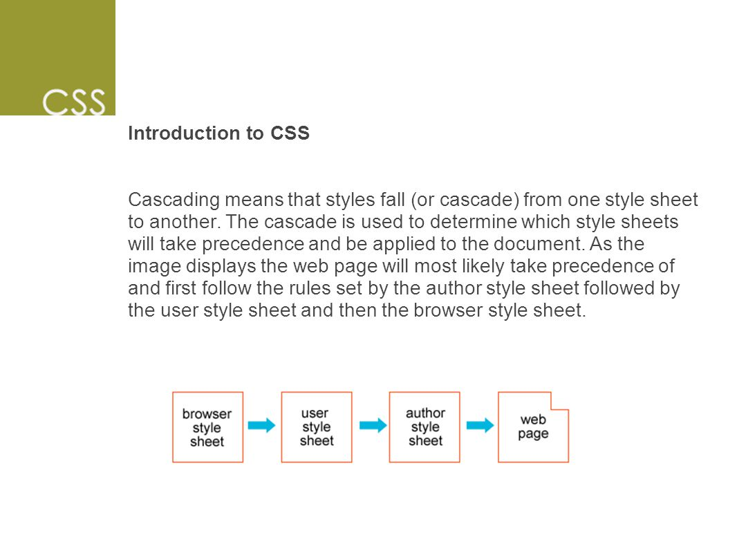 Introduction to CSS Cascading means that styles fall (or cascade) from one style sheet to another.