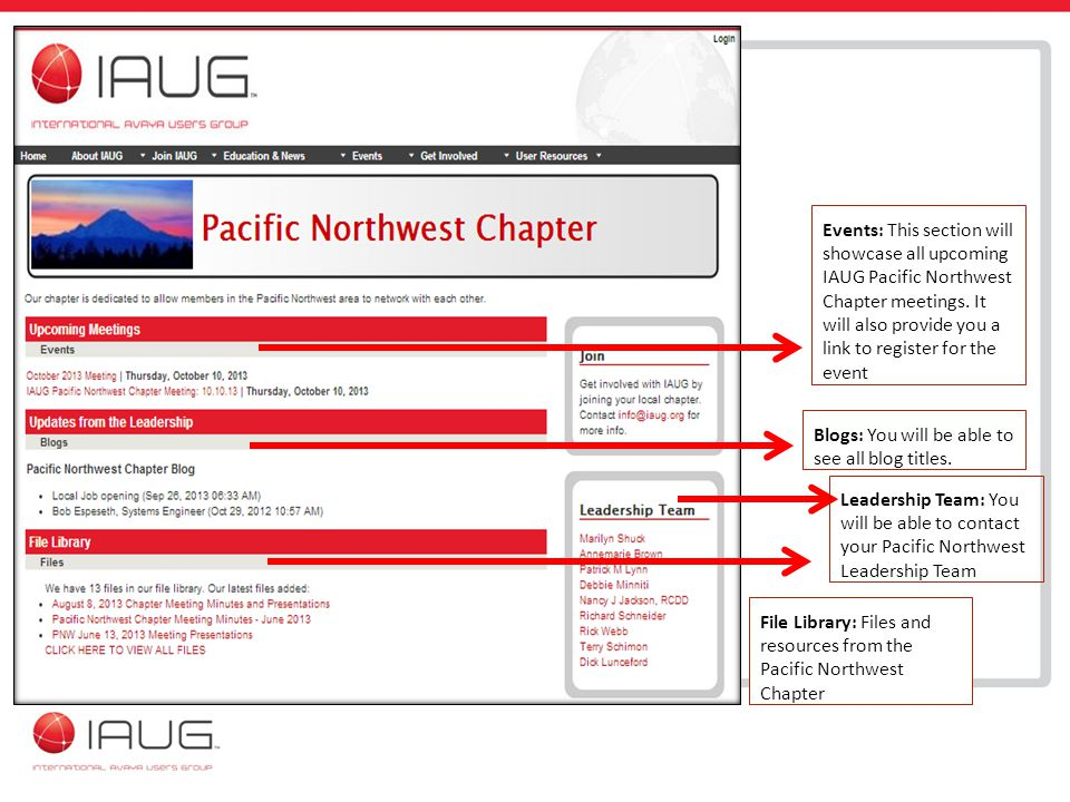 Events: This section will showcase all upcoming IAUG Pacific Northwest Chapter meetings.