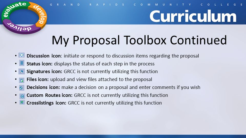 My Proposal Toolbox Continued Discussion icon: initiate or respond to discussion items regarding the proposal Status icon: displays the status of each step in the process Signatures icon: GRCC is not currently utilizing this function Files icon: upload and view files attached to the proposal Decisions icon: make a decision on a proposal and enter comments if you wish Custom Routes icon: GRCC is not currently utilizing this function Crosslistings icon: GRCC is not currently utilizing this function
