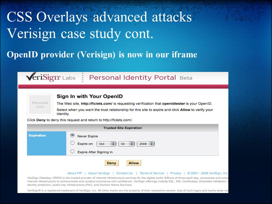 CSS Overlays advanced attacks Verisign case study cont.