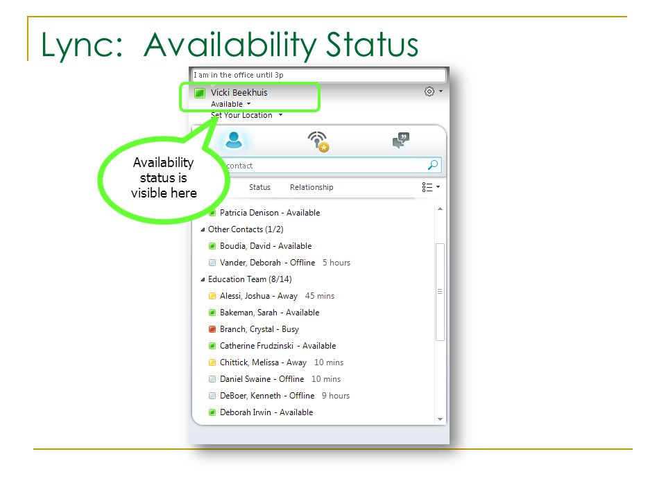 Lync: Availability Status Availability status is visible here