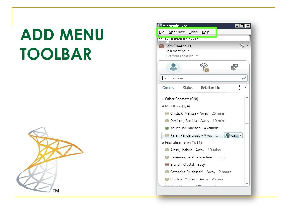 ADD MENU TOOLBAR