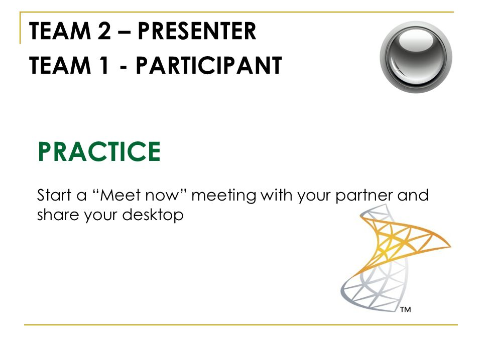 PRACTICE TEAM 2 – PRESENTER TEAM 1 - PARTICIPANT Start a Meet now meeting with your partner and share your desktop