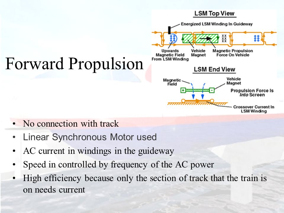 Forward Propulsion No connection with track Linear Synchronous Motor used AC current in windings in the guideway Speed in controlled by frequency of the AC power High efficiency because only the section of track that the train is on needs current